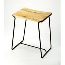 See Details - This contemporary stool will stylishly enhance your space. Featuring a Natural Distressed Wood Finish that is contrasted by the Black metal finish frame. It is hand crafted from iron and mango wood. The simple design will blend with just about every room in your home.