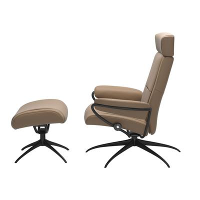 See Details - Stressless® Paris chair with adjustable headrest, with footstool