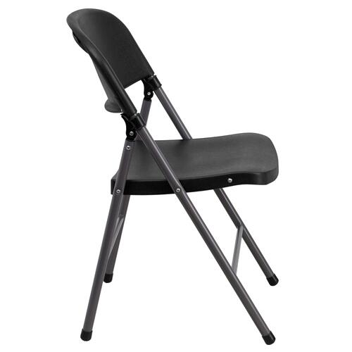 330 lb. Capacity Black Plastic Folding Chair with Charcoal Frame