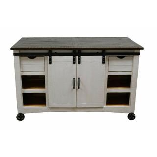 See Details - W. White Barn Door Kitchen Island W/ Stools