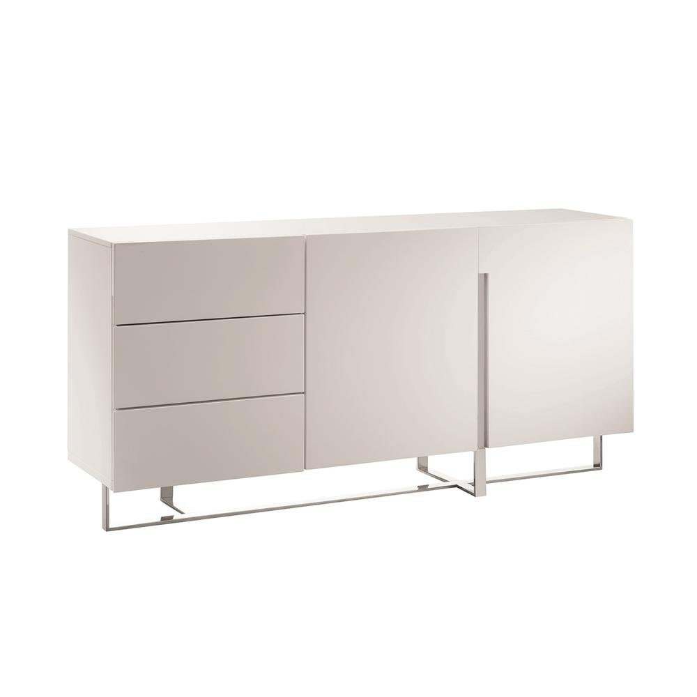 The Collins Buffet-server In High Gloss White Lacquer With High Polished Stainless Steel