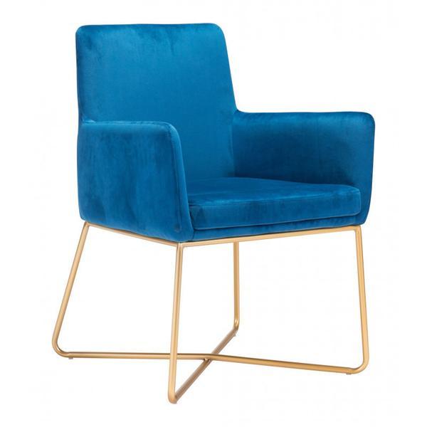 Honoria Arm Chair Blue & Gold