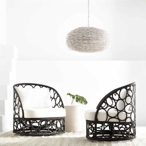 Bernhardt - Bali Swivel Chair in Flat Rope Weave in Gray Flannel