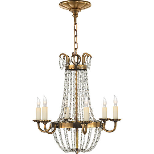 Visual Comfort - E F Chapman Paris Flea Market 6 Light 16 inch Antique-Burnished Brass Chandelier Ceiling Light