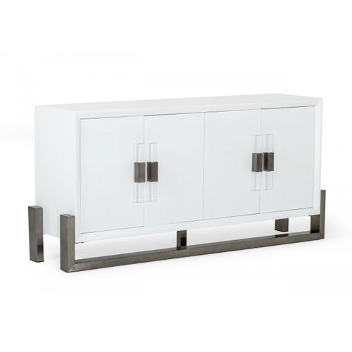 VIG Furniture - Modrest Lenny - Modern White High Gloss & Stainless Steel Gun Metal Buffet