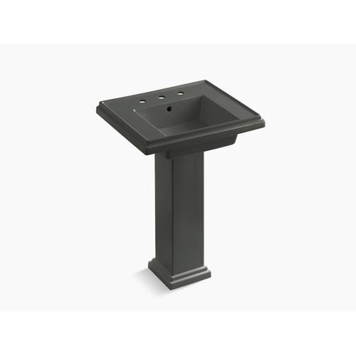 """Thunder Grey 24"""" Pedestal Bathroom Sink With 8"""" Widespread Faucet Holes"""