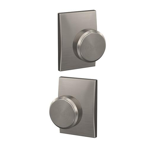 Custom Bowery Knob with Century Trim Hall-Closet and Bed-Bath Lock - Satin Nickel