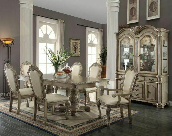 ACME Chateau de Ville Dining Table w/Double Pedestal - 64065 - Antique White