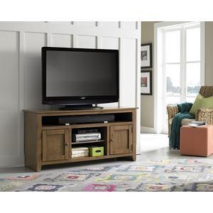 "Progressive Furniture - 58\"" Medium Pine Entertainment Console - Pine, Dark Pine and Black Finish"