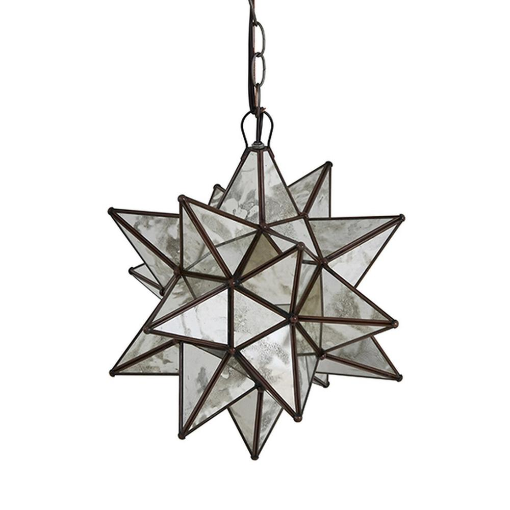 Whether You Install One or Group Several Together, Our Large, Moravian Star Chandelier With Antique Mirrors Brings Beautiful Sparkle To Your Decor Throughout the Day and Night. Each Star Comes Standard With 3' of Antique Brass Chain and Canopy, Additional Chain Length Available for Purchase To Accommodate Your Custom Installation.