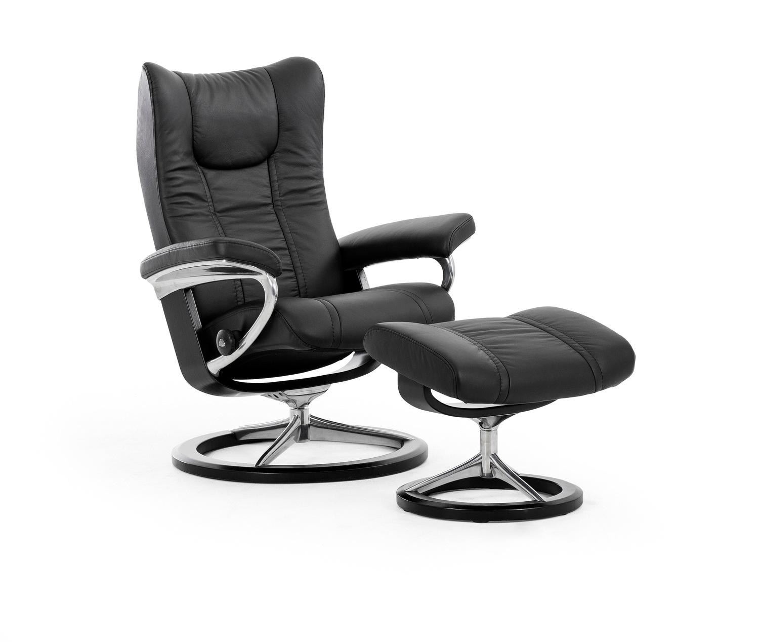 Stressless By EkornesStressless Wing Small Signature Base Chair And Ottoman