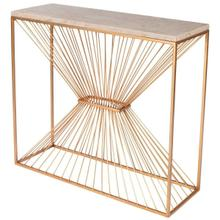 See Details - This breath-taking modern console table evokes a celestial aura. Its antique gold steel base seems to reach to the heavens while supporting an elaborately patterned cream fossil stone top. Ideal for use in the living room, den, or entryway, it will prominently display cherished photos and other valued mementos in virtually any space.