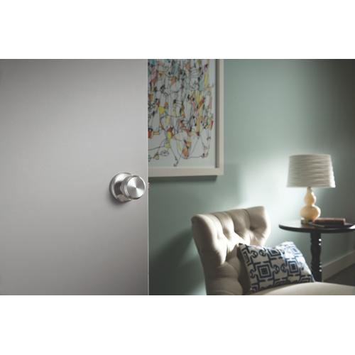 Bowery Knob with Greyson trim Hall & Closet Lock - Satin Nickel