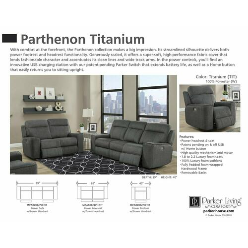 Product Image - PARTHENON - TITANIUM Power Recliner
