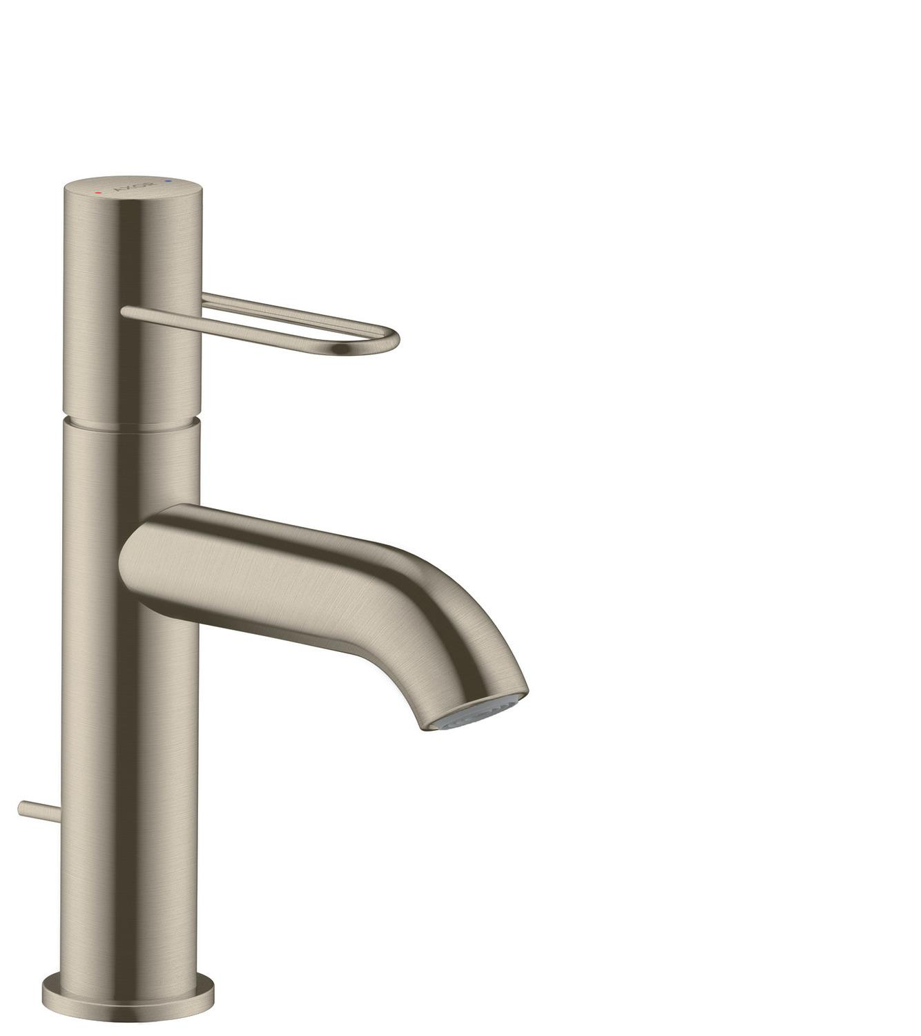 Brushed Nickel Single lever basin mixer 100 with loop handle and pop-up waste set