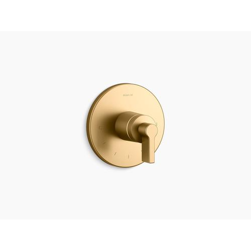 Kohler - Vibrant Brushed Moderne Brass Thermostatic Valve Trim With Lever Handle