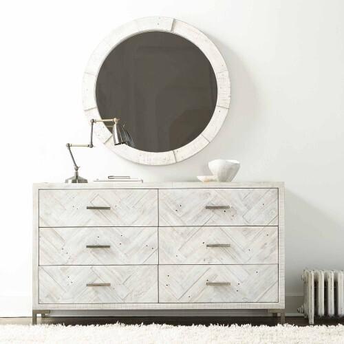 Bernhardt - Piper Round Mirror in Brushed White