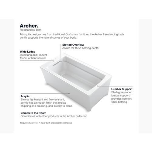 "White 62"" X 32"" Freestanding Bath"