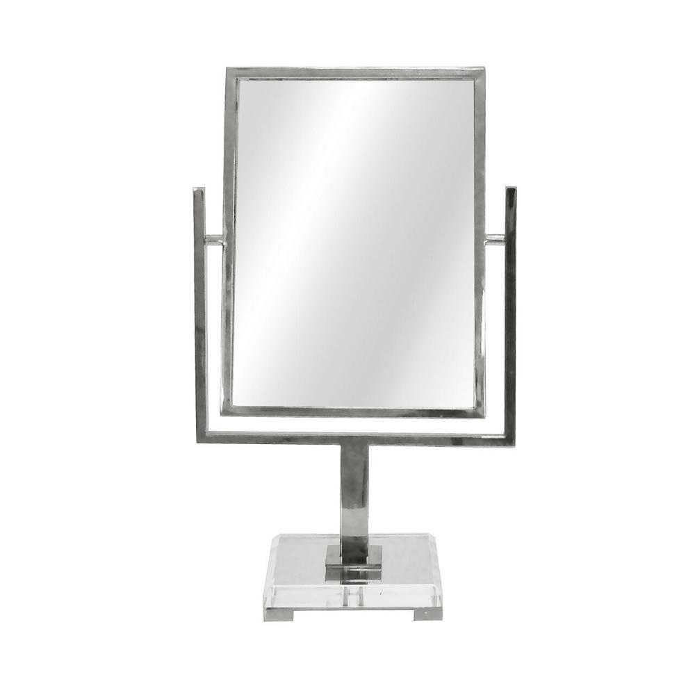 Perfect for A Quick Lipstick Touch-up Before Dashing Out the Door, Our Adjustable Caitlin Countertop Mirror Is Finished In Polished Nickel With an Elegant, Beveled Acrylic Base and Nickel Feet. Perfect for Guest Suites, Powder Rooms, and Entry Consoles Alike.