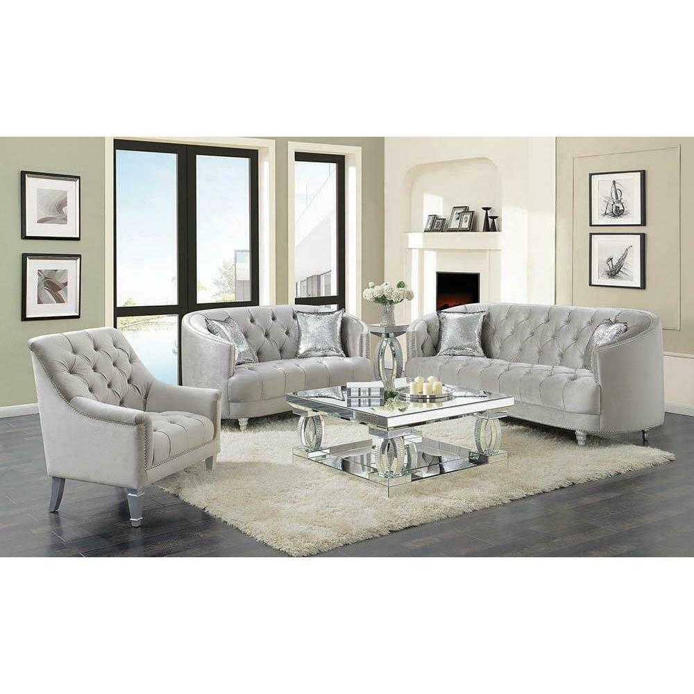 See Details - Avonlea Traditional Grey and Chrome Chair