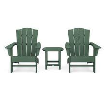 View Product - Wave 3-Piece Adirondack Chair Set with The Crest Chairs in Green