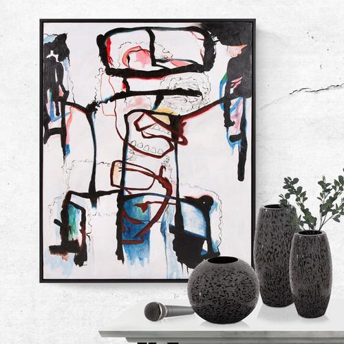 Howard Elliott - Chiseled Texture Black Iron Cylinder Vase, Large