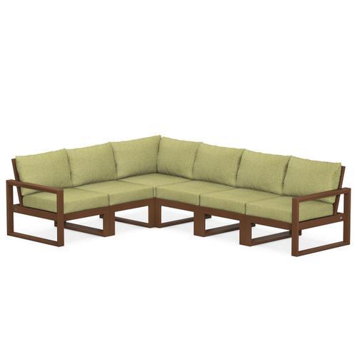 Polywood Furnishings - EDGE 6-Piece Modular Deep Seating Set in Teak / Chartreuse Boucle