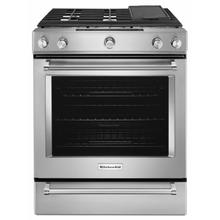 See Details - 30-Inch 5 Burner Front Control Gas Convection Range with Baking Drawer - Stainless Steel