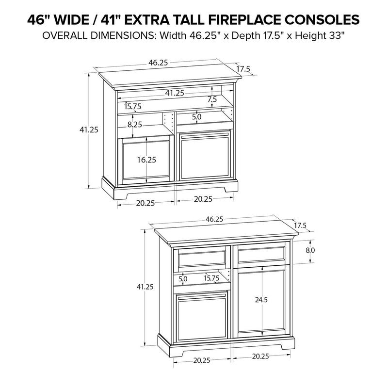 FT46G Extra Tall Fireplace Custom TV Console