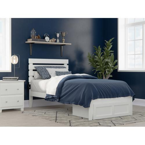 Oxford Twin Extra Long Bed with Foot Drawer and USB Turbo Charger in White