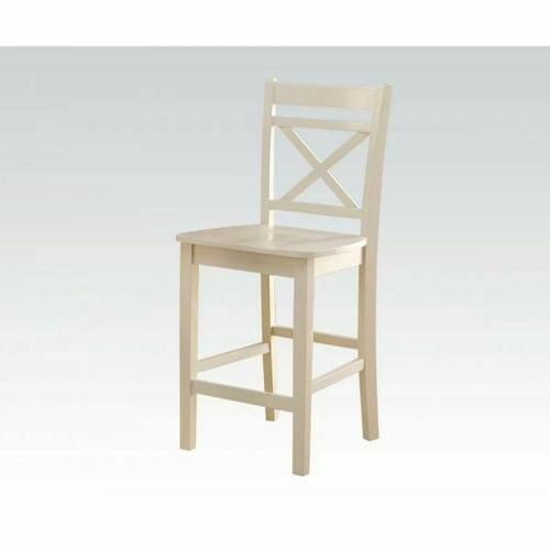 ACME Tartys Counter Height Chair (Set-2) - 72547 - Cream
