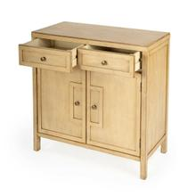 See Details - This stylish console cabinet combines Modern minimalism with Eastern design elements. Featuring clean lines and a Natural finish, its inner storage cabinet and two drawers make it a great addition in an entryway, hallway or living room. Crafted from bayur wood solids and wood products with nickel finished hardware.