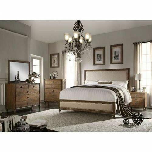 ACME Inverness Queen Bed - 26080Q - Beige Linen & Reclaimed Oak