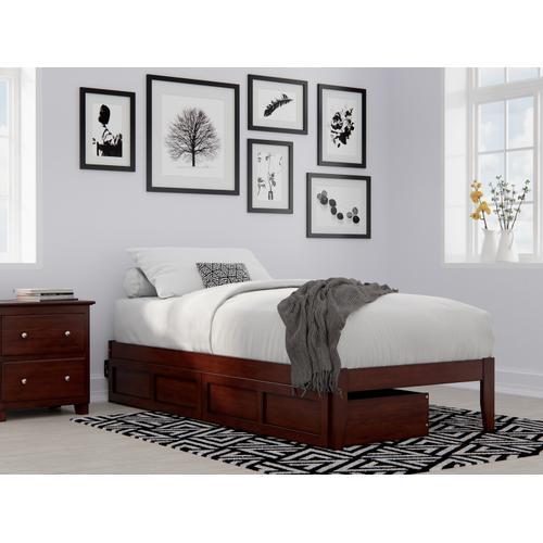 Atlantic Furniture - Colorado Twin Extra Long Bed with USB Turbo Charger and 2 Extra Long Drawers in Walnut