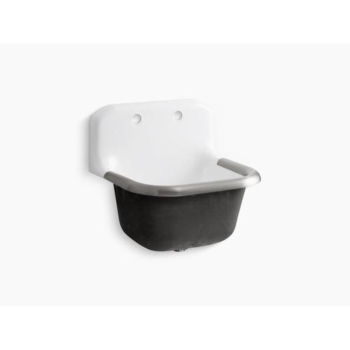 """White 24"""" X 20-1/4"""" Wall-mounted or P-trap Mounted Service Sink With Rim Guard and Back Drilled On 8"""" Centers"""