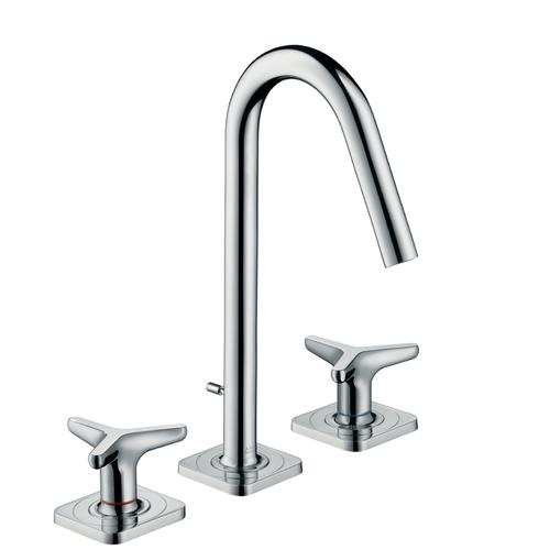 Chrome 3-hole basin mixer 160 with star handles, escutcheons and pop-up waste set