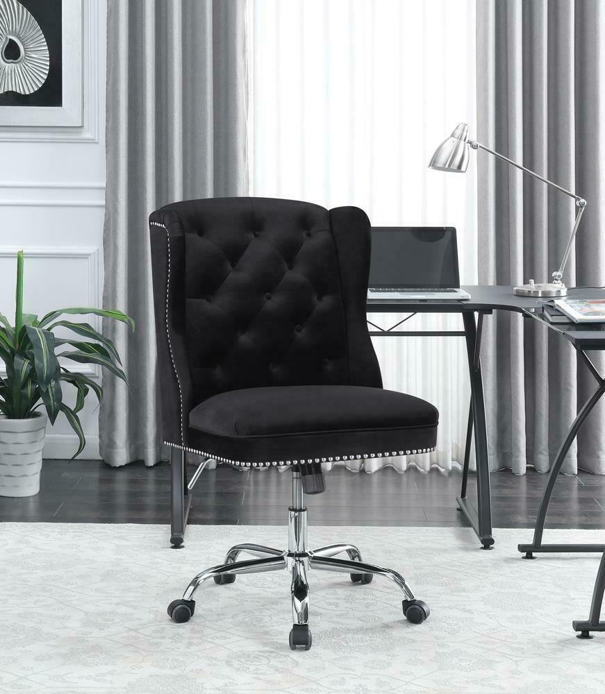 Modern Black Velvet Office Chair