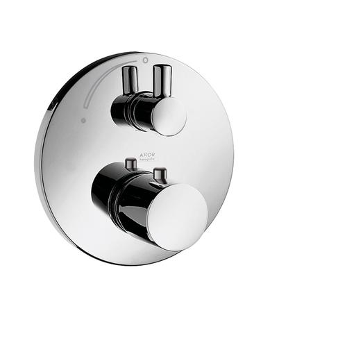 Polished Black Chrome Thermostat for concealed installation with shut-off valve