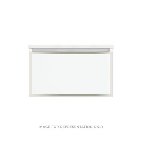 """Profiles 30-1/8"""" X 15"""" X 21-3/4"""" Modular Vanity In Tinted Gray Mirror With Polished Nickel Finish, Slow-close Plumbing Drawer and Selectable Night Light In 2700k/4000k Color Temperature (warm/cool Light)"""