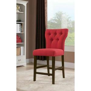 Acme Furniture Inc - ACME Effie Counter Height Chair (Set-2) - 71525 - Red Linen & Walnut