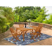 This 5 Piece Acacia Hardwood Outside patio Sets includes an Outdoor-Furniture table and four chairs