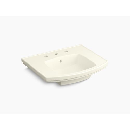 "Biscuit Pedestal Bathroom Sink With 8"" Centerset Faucet Holes"