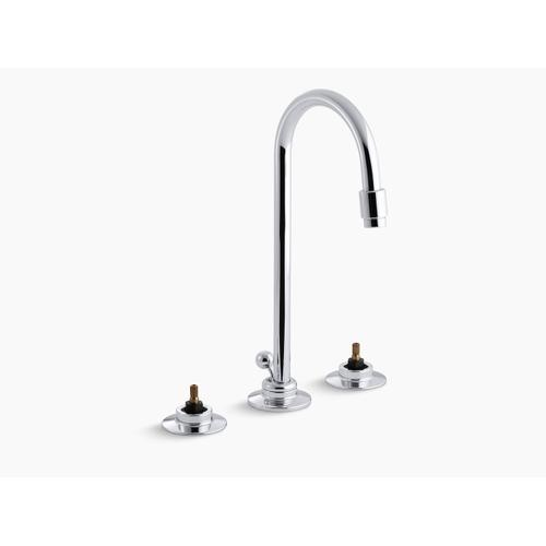 Polished Chrome 0.5 Gpm Widespread Commercial Bathroom Sink Base Faucet With Gooseneck Spout and Pop-up Drain, Requires Handles