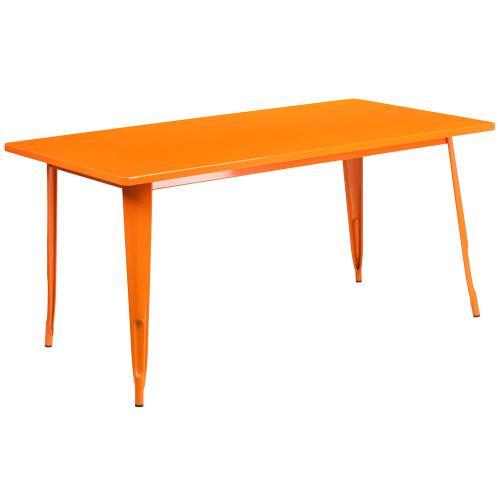 31.5'' x 63'' Rectangular Orange Metal Indoor-Outdoor Table