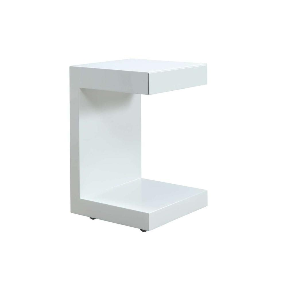 The Lino High Gloss White Lacquer Nightstands With One Drawer