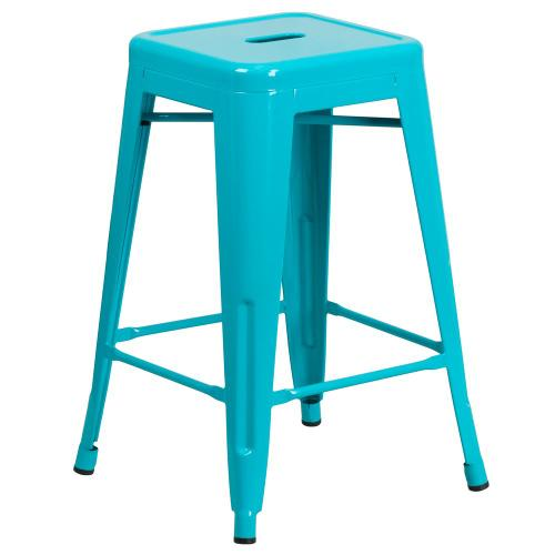 24'' High Backless Crystal Teal-Blue Indoor-Outdoor Counter Height Stool
