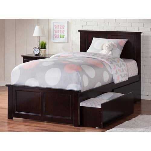 Madison Twin Bed with Matching Foot Board with 2 Urban Bed Drawers in Espresso