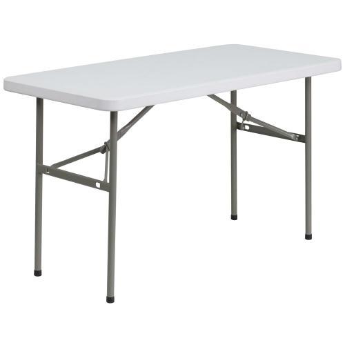 24''W x 48''L Granite White Plastic Folding Table