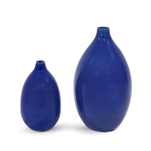 Howard Elliott - Cobalt Blue Glaze Ceramic Vases - Set of 2