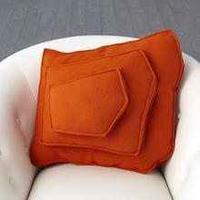See Details - Rock Pillow-Orange-Trapezoid Shape